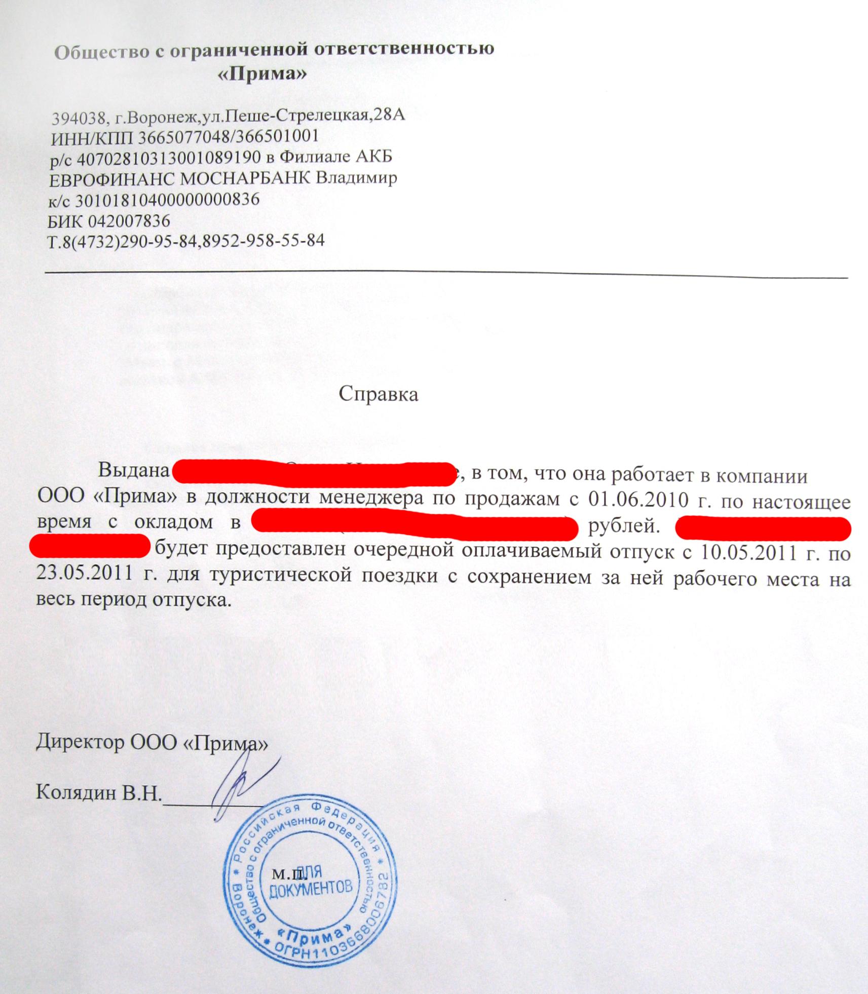 Справка для посольства на визу из банка образец содержание трудового договора